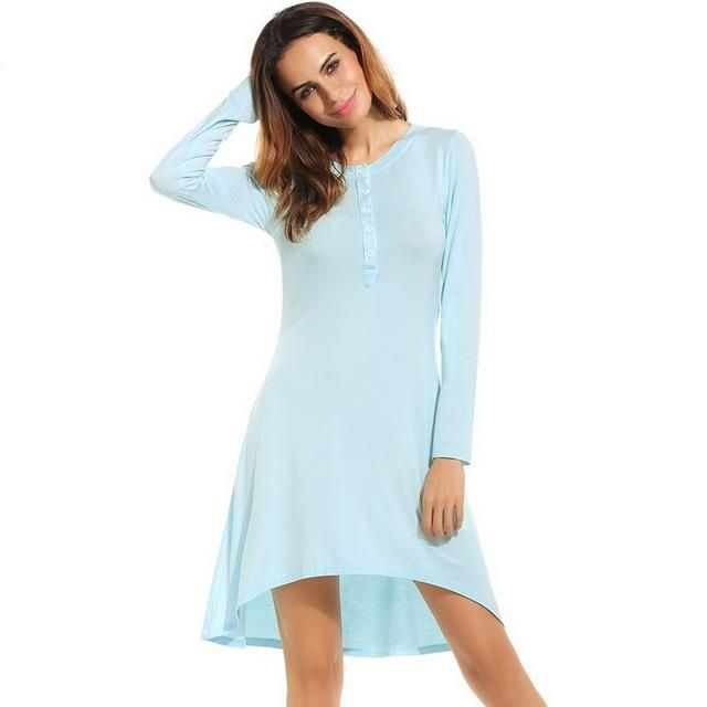 Summer Sexy Sleepwear Long Nightdress Modal Nightgown Women Sleep Night Dress Front Button Nightshirt Homewear Nighty Clothes L3