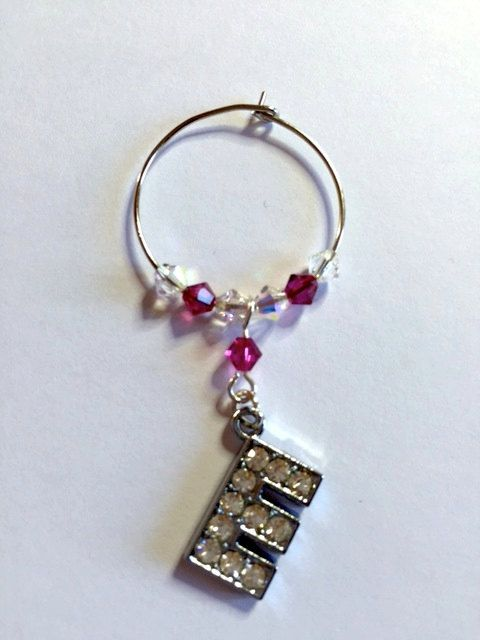 Letter 'E' Wine Glass Charm - with Swarovski Crystals - birthstone gift idea by Makewithlovecrafts on Etsy