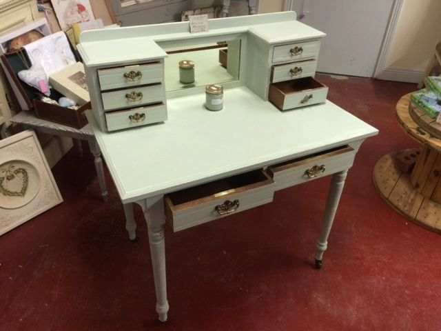 Beautiful 1948 writing bureau. Project just finished at The Store Room Gorey. Applications: Sugar soap-Blackfriar Stain Killer / Sealer-Vintage Linen 2 coats-Vintage Gulls Egg-2 coats-Water based lacquer-2 coats...............................  SOLD