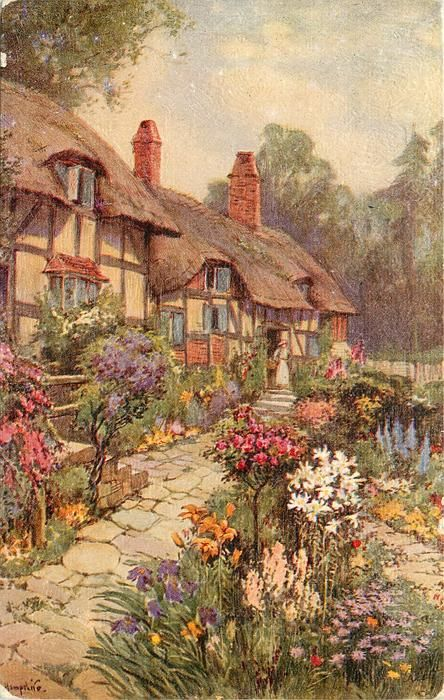 woman with basket on right arm stands at top of steps, thatched cottages left - TuckDB