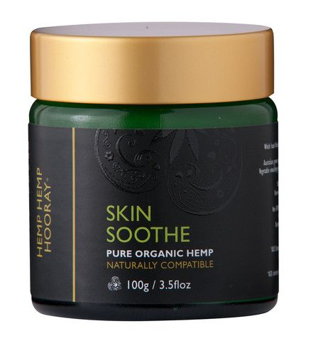 Hemp Hemp Hooray's Skin Soothe is the perfect cream to care for problem skin conditions such as eczema, psoriasis, rashes and acne prone skin.  A beautiful blend of Australian grown Organic hemp seed oil, witch hazel floral water, myrrh tincture and essential oils provide antioxidant, astringent, anti-bacterial and anti-fungal properties which soothe wounds, reduce redness and itching, while essential fatty acids nourish and moisturise the skin.