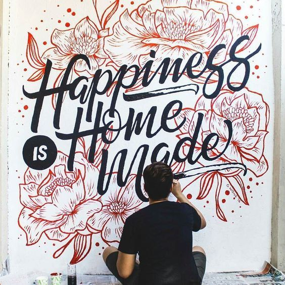 """Happiness is homemade"" by giancarlowong - GREAT lettering and awesomely executed! I'm loving his work... #letteringdesign #letteringhandwritten #letteringhandwrittenideas"