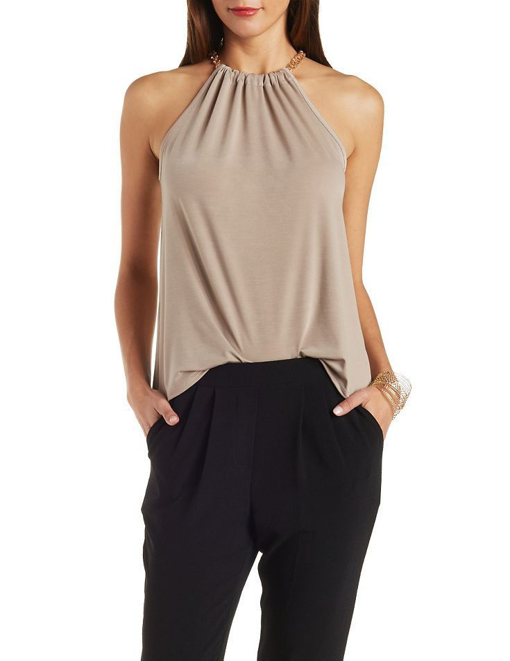 Ruched Chainlink Sleeveless Top | Sleeveless Tops, Charlotte Russe ...