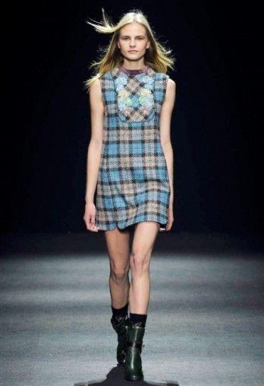Abito a quadri Massimo Rebecchi - Vestito corto a quadri pastello tra le proposte di tendenza alla Milano Moda Donna Autunno/Inverno 20152016