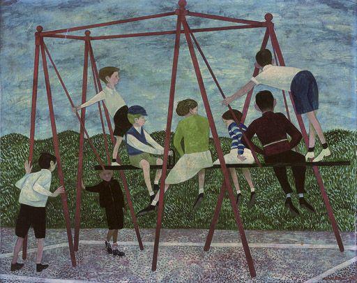 Alfred Daniels – Swings, 1952, oil on board, 60 x 73.6 cm