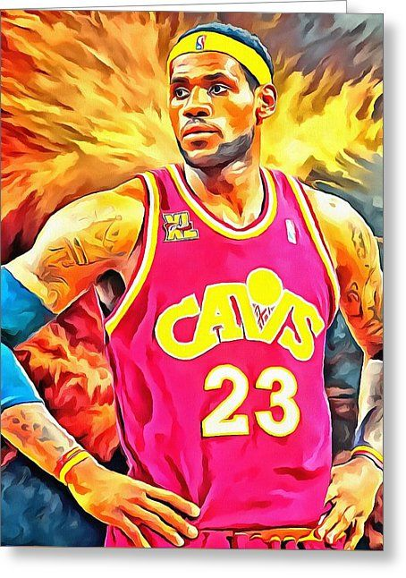 Lebron James Basketball Art Portrait Painting Painting by Andres Ramos