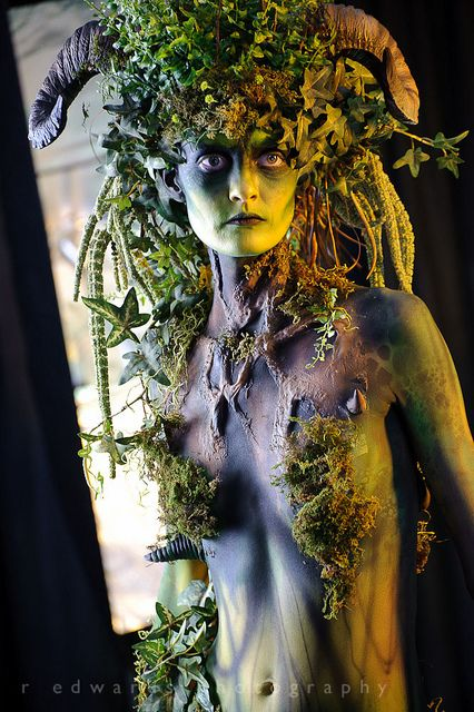 Fairy forest green faerie woman - fantasy fairytale art photography make up - Ram horns / horned goddess - Photoshop World Fall 2011 by Edwarr, via Flickr