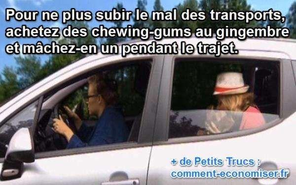 macher des chewing gum au gingembre pour lutter contre le mal des transports