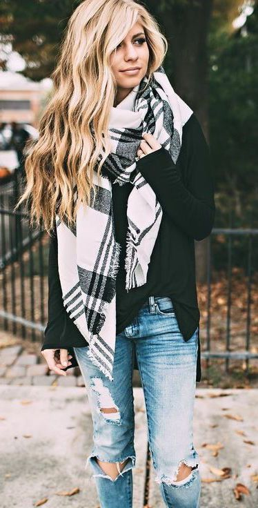 blanket scarf. distressed jeans.