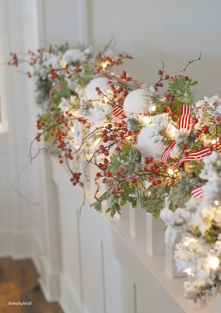 Traditional Bannister: This bannister masterpiece delivers so much oomph without an ounce of crafting frustration. Click through for more Christmas garlands you'll want to decorate with year after year!
