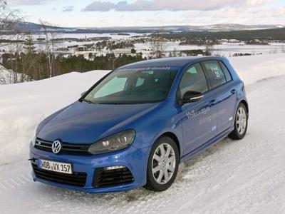 Ice driving the 2012 Volkswagen Golf R in Sweden.