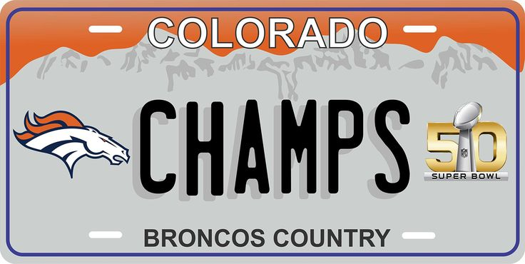 Denver Broncos Colorado Super Bowl Tag Vehicle Car Moped Bike Bicycle Motorcycle Auto License Plate -- Awesome products selected by Anna Churchill