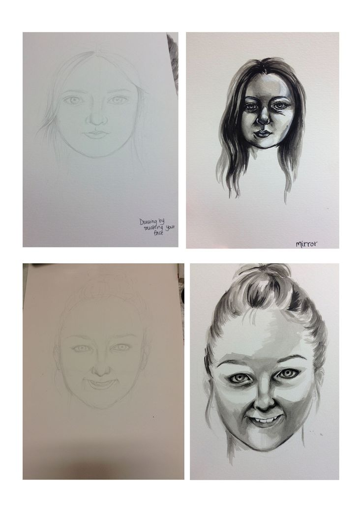 Task 8 - Portraiture - Drawing by touching your face, looking gin a mirror and drawing someone else