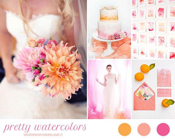 pink and orange watercolor wedding inspiration http://weddingwonderland.it/2015/07/matrimonio-arancione-corallo-fucsia.html