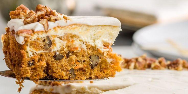 Half carrot cake, half plain cheesecake, this hybrid dessert is a slice of heaven.