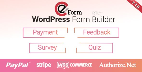 eForm - WordPress Form Builder by WPQuark Premium WordPress Form Builder Plugin For complete form management solution, quizzes, surveys, data collection, payment / cost estimation and user feedback of all kinds.eForm ¨C WordPress Form BuildereForm (Previously FSQM Pro) is