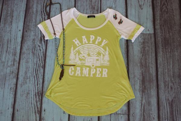 Happy Camper Baseball Tee - Saddles & Lace - Tees, Tanks, & Hoodies - 1