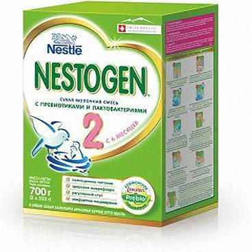 Смесь Nestle Nestogen 2 молочная сухая с пребиотиками с 6 месяцев до 12 месяцев  — 573р.  Благодаря уникальной комбинации компонентов, Nestogen® 2 помогает обеспечить комфортное пищеварение и оптимальное развитие. В состав смеси входит комплекс натуральных пищевых волокон-пребиотиков PREBIO®, который улучшает состояние кишечной микрофлоры, способствует нормализации пищеварения, предупреждает развитие запоров. Сухая молочная смесь Nestogen Нестоген с пребиотиками. Полноценное питание…