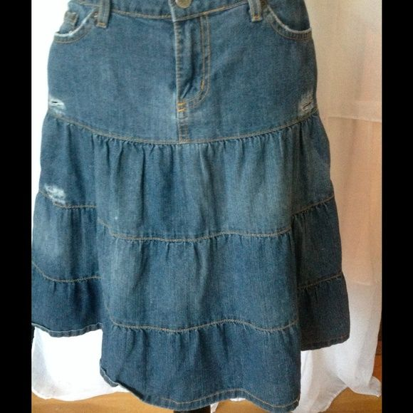 Urban Outfitters Lux Distressed Jean Skirt Adorable jean skirt.  Falls to about an inch above the knee. Urban Outfitters Skirts