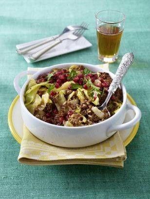 Persischer roter Reis mit Rinderhack und Granatäpfeln