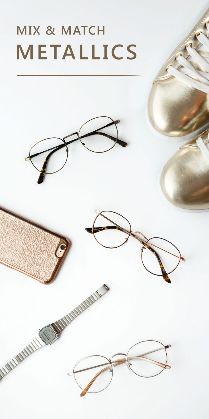 We'll admit it—We love shiny things. From copper to rose gold, metallics make any look instantly luxe. Metal rimmed glasses are the gold standard for eyewear that goes great with anything. But you don't have to break the bank to afford these precious metals. Shop over a thousand frames fit for any outfit, starting at just $6 at EyeBuyDirect. Pictured from top to bottom: Shanghai ($29), Daydream ($35), Cupertino ($32).