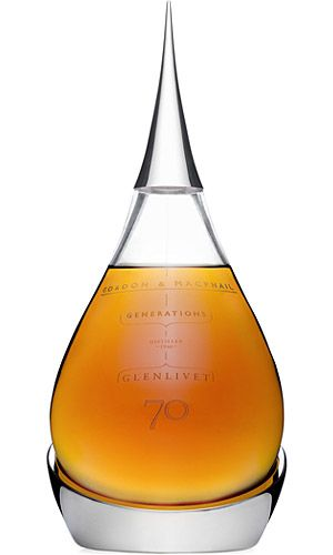 """GLENLIVET 70 YEAR OLD WHISKEY  There's aged whiskey, and then there's the Glenlivet 70 Year Old Whiskey (£ 13,000; roughly $21,000). The second release in Gordon & MacPhail's Generations range, this rare spirit was distilled on February 3, 1940, and comes in a gorgeous tear-shaped, hand-blown crystal decanter, with a silver stopper and base, and a handmade box crafted from Scottish Elm. If you want some, you'd best hurry — only 100 bottles were made.."""