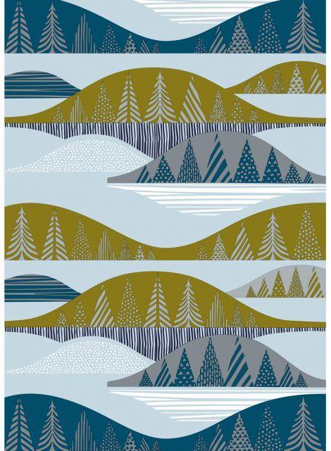 Kultakero organic cotton (grey,green,blue) |Fabrics, Cottons | Marimekko