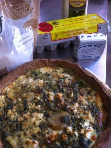 outback pride warrigal and saltbush tart with b.-d. farm paris creek fetta | simon bryant