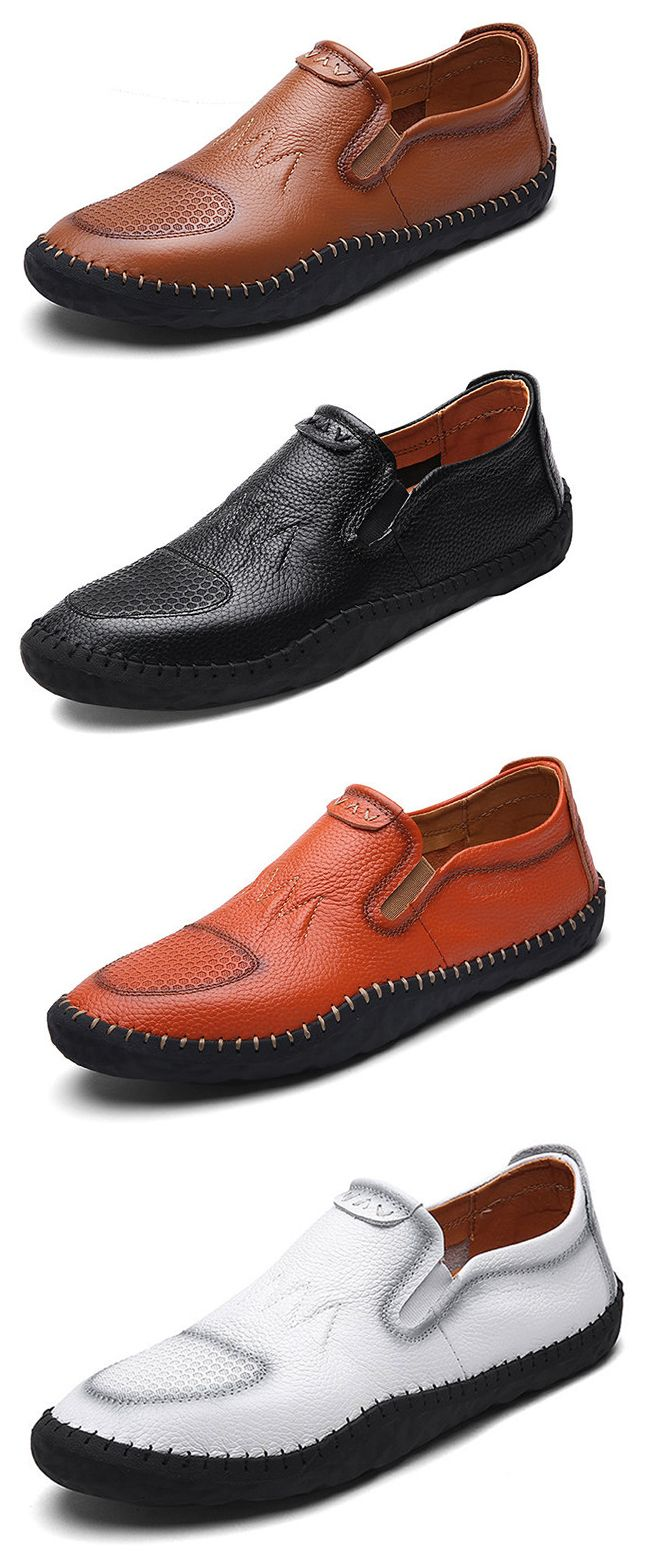 Men Hollow Out Splicing Hand Stitching Genuine Leather Driving Loafers