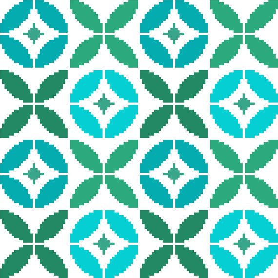 Tile Inspired Round Retro Flowers. By Crossstitchtheline On Etsy