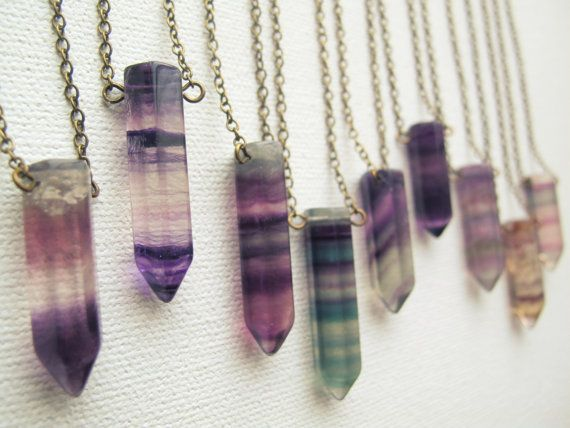 Just lovely - RESTOCKED Fluorite Crystal Necklace Crystal Point by Chrysalism https://www.etsy.com/uk/listing/179245938/restocked-fluorite-crystal-necklace?ref=trending_item