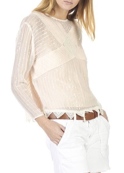 Top col rond en broderies anglaises et sequins brodés Blanc by INTROPIA