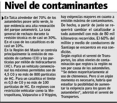 Nivel de contaminantes en la región
