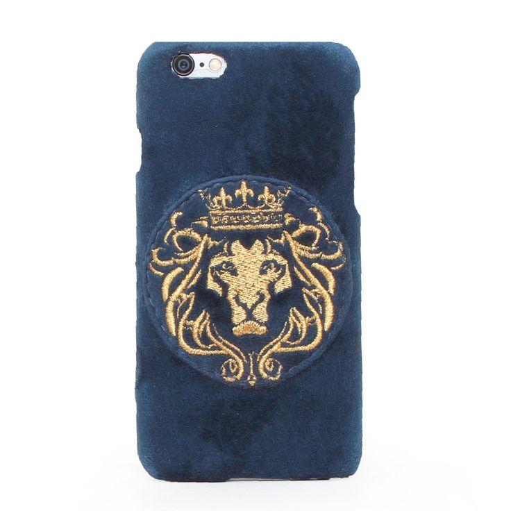 Buy online #GOLDEN LION KING EMBROIDERY ON BLUE VELVET #MOBILE #COVER @ voganow.com for Rs.1,499/-