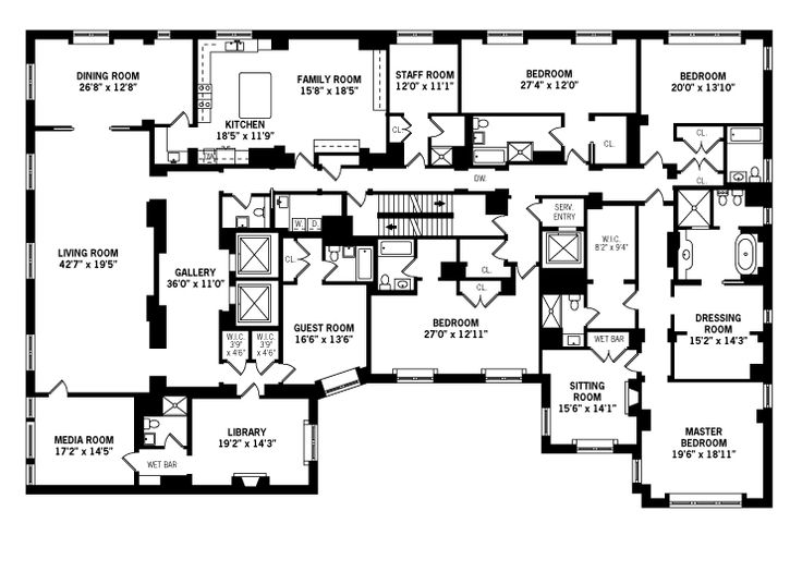 4 bedroom apartment floor plans floorplans a b c d for Luxury apartment floor plans nyc