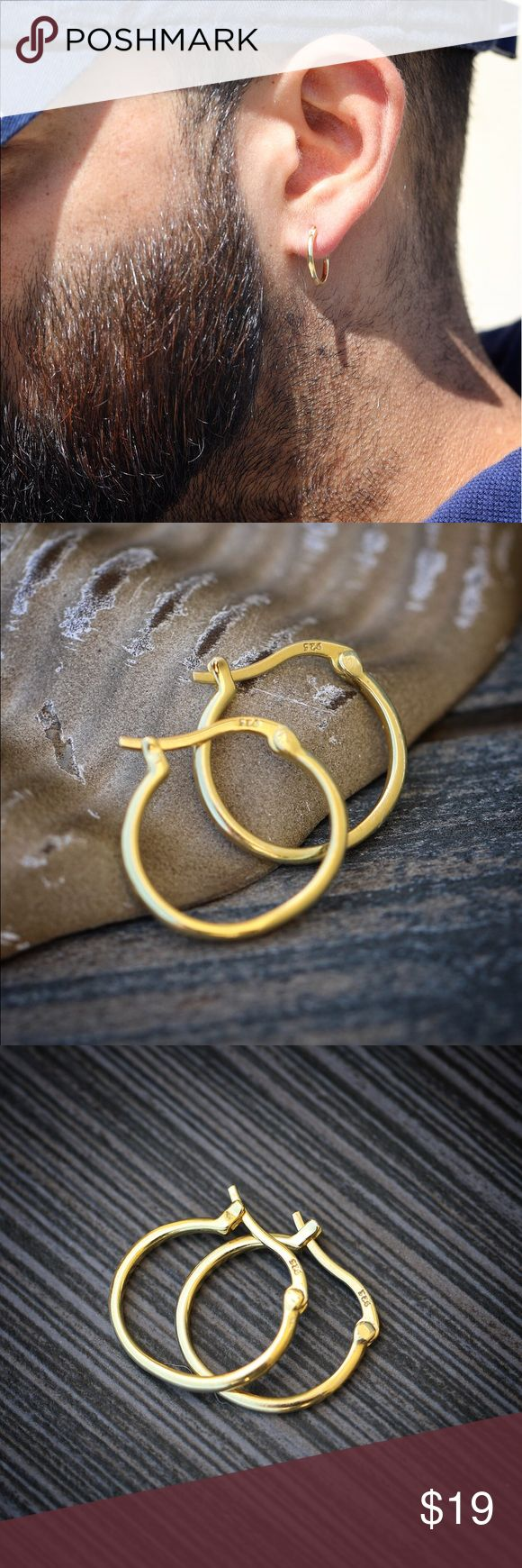 Gold Plated Sterling Silver Men's Hoop Earrings 14k Gold Plated 925 Sterling Silver Men's Hoop Earrings  These hoops are made of pure high quality 925 sterling silver. Size is 12mm  14k gold plated over 925 sterling silver. TSV Jewelers Accessories Jewelry