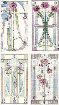 Mackintosh Rose Cross Stitch Kits - Set of 4