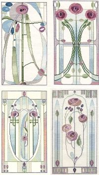 Mackintosh Rose Cross Stitch Kits - Set of 4