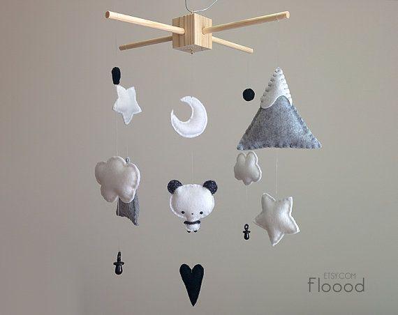 Craft? Panda Baby Mobile Panda Nursery Decor Baby Nursery by Floood