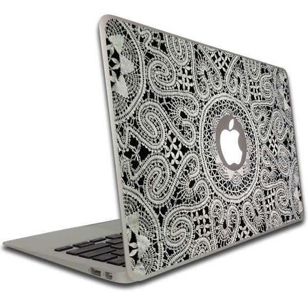 Macbook air or macbook pro inch vinyl removable skin lace decorative laptop skin decals computers accessories