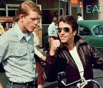 Richie (Ron Howard) and The Fonz (Henry Winkler) — Happy Days