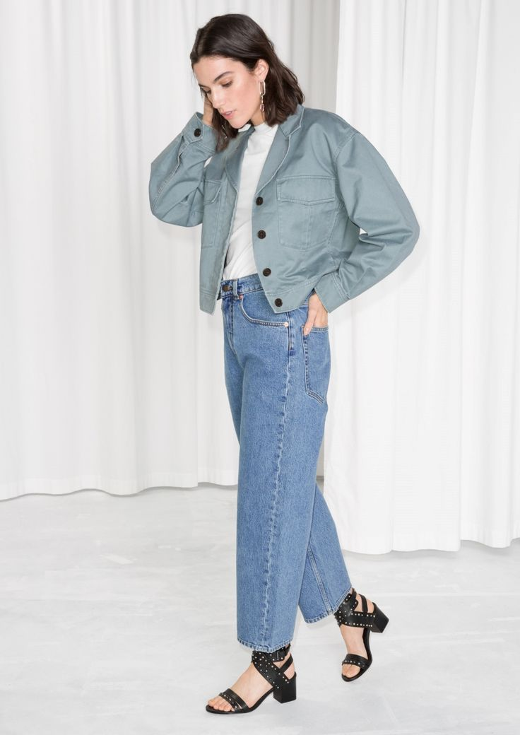 & Other Stories image 1 of High Waisted Culotte Jeans in Mid Blue