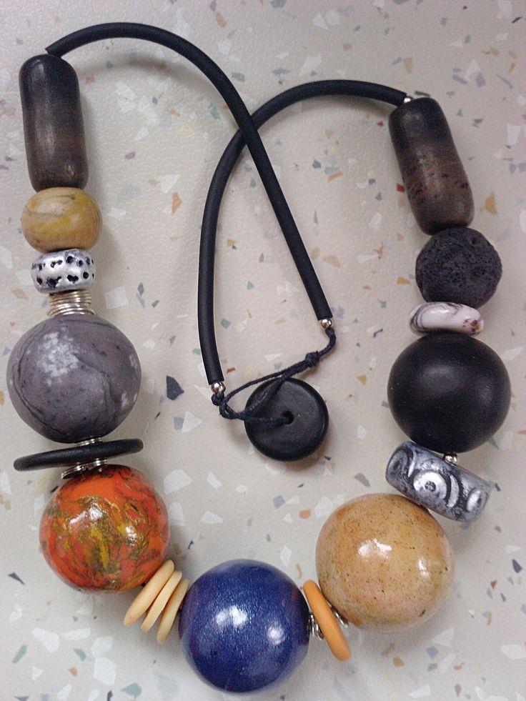 Irena Ryszkiewicz - polymer clay bead necklace. #polymerclay #fimo #bijou #korale #bizuteria #handmade #naszyjnik