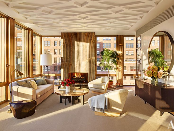 Living room in a Manhattan penthouse designed