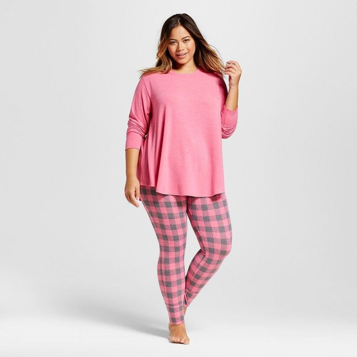 Women's Plus Size Pajama Sets Solid Dramatic Pink