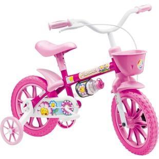 """Bicicleta Infantil Nathor Aro 12"""" Flower 8, possui a nova roda aro 12, que proporciona um pedalar mais seguro, confortável e com mais equilíbrio. Tudo isso pensando no bem estar dos pequenos. Além disso, possui design moderno, com garrafinha, pneu em EVA, quadro em aço, guidão com PAD, placa frontal e cores alegres. Tudo o que a criança precisa para se divertir com segurança e conforto."""