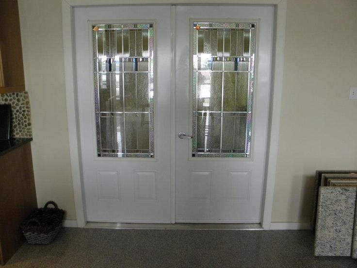"""34"""" RHI Double Entry Door System  Factory Painted Steel Insulated Doors  w/ 2248 Zinc Prairie Lights Door Lites  Vinyl Wrap Jamb"""