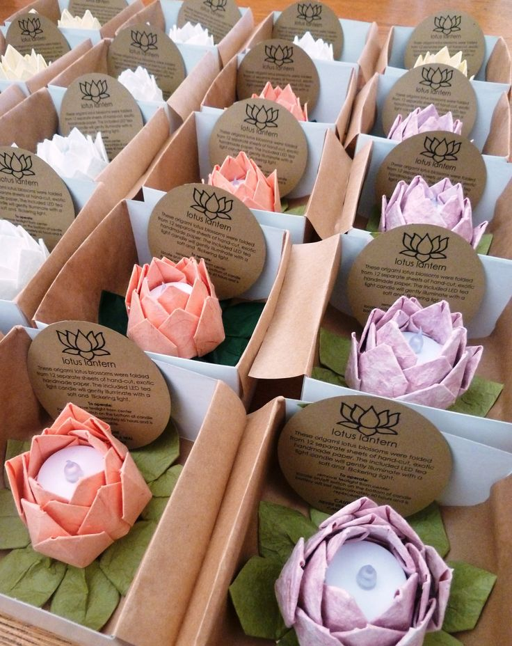 10 Origami Lotus Lanterns, you pick the colors, gift boxed wedding favors, thank you gifts. $110.00, via Etsy.