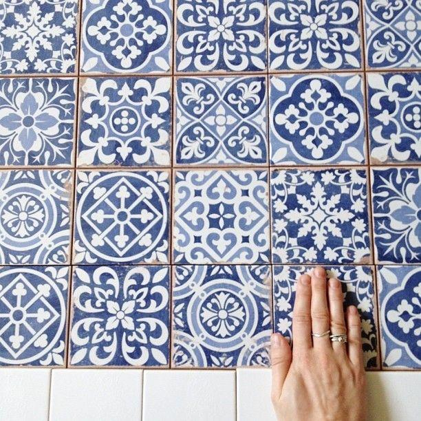 Random blue and white tiles a la Monet's kitchen.