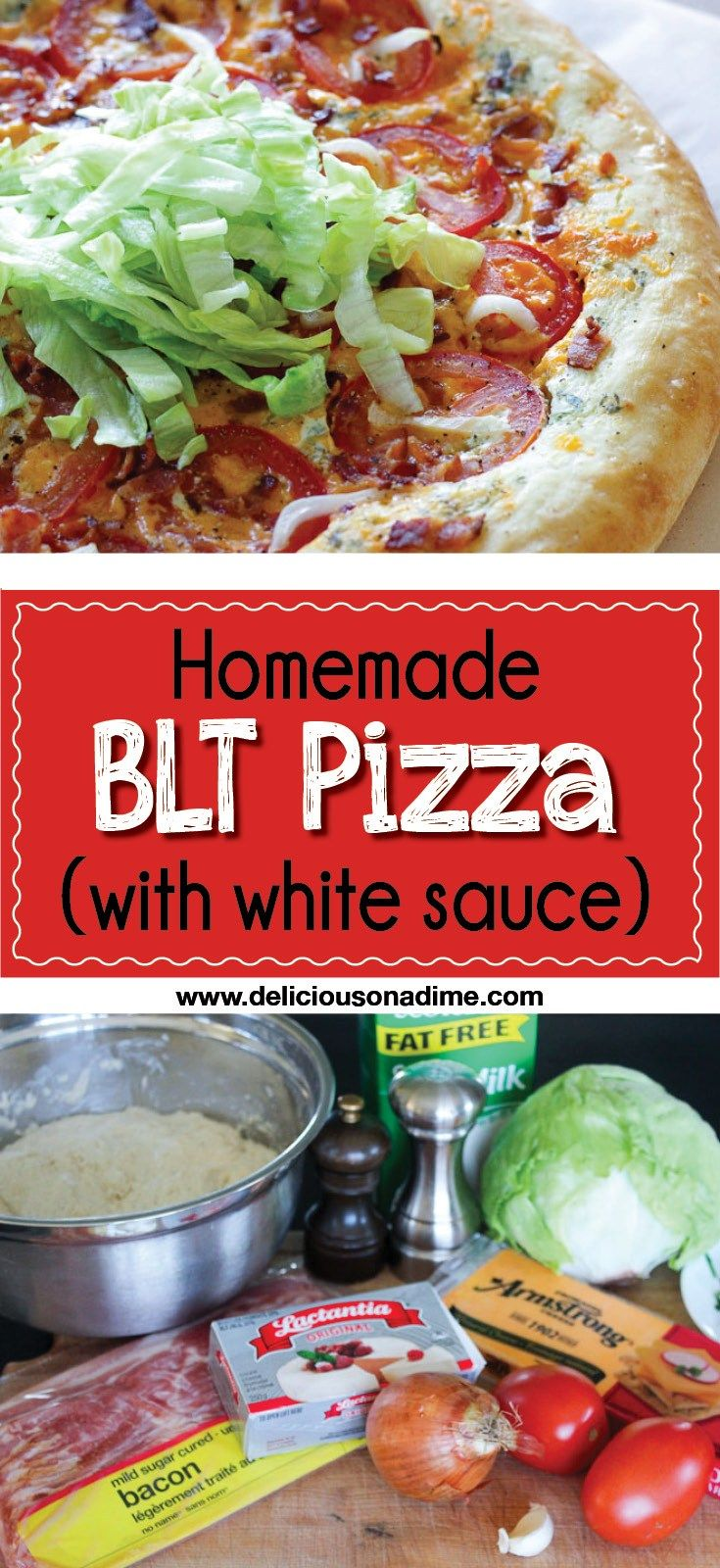 This Homemade BLT Pizza (with white sauce) recipe is a refreshing new spin on everyone's beloved classic BLT. Smoky bacon, fresh tomatoes, crunchy lettuce and a creamy white sauce will make this homemade pizza your new favourite way to enjoy a BLT.